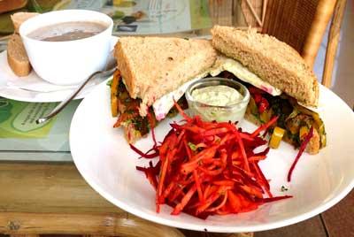 sandwitch-PestoGrilledSandwichCornMushroomSoup